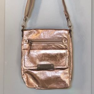 Silver Metallic Leather The Sak Crossbody Purse